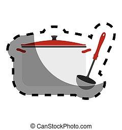 cor, adesivo, com, panelas, e, ladle sopa