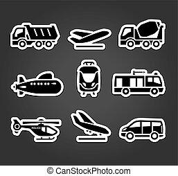 cor, adesivos, jogo, transporte, pictograms