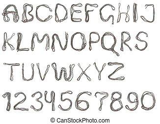 cor, alfabeto, corda