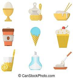 cor, almoço, menu, apartamento, ícones