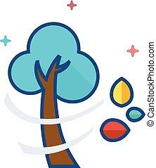 cor, apartamento, -, árvore, ícone