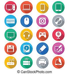 cor, apartamento, ícones computador