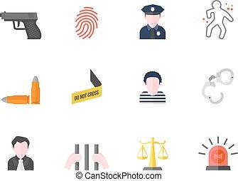 cor, apartamento, ícones, -, crime