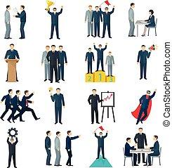 cor, apartamento, liderança, ícones