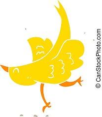cor, apartamento, pássaro, ilustração, caricatura