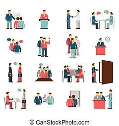 cor, apartamento, pessoas, reunião, ícones