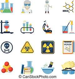 cor, apartamento, química, jogo, ícones