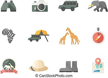 cor, apartamento, -, safari, ícones