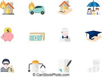 cor, apartamento, -, seguro, ícones