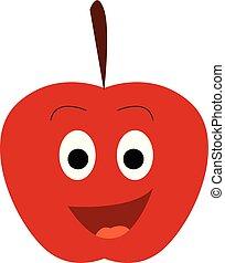 cor apple, ilustração, vetorial, ou, vermelho, feliz