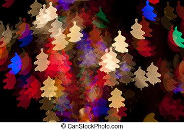 cor, arco íris, árvore, luzes natal