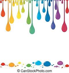 cor, arco íris, gotas, colorido, fluir