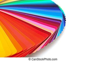 cor, arco íris, paleta, branca, isolado