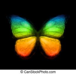 cor, arco íris, vetorial, butterfly.