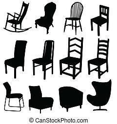 cor arte, dois, ilustração, vetorial, pretas, cadeira