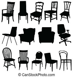 cor arte, ilustração, vetorial, pretas, cadeira