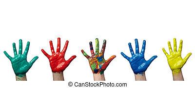 cor arte, mão, pintado, arte, criança