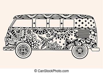 cor, autocarro, bege, pretas