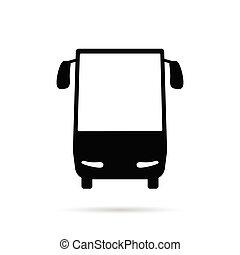 cor, autocarro, pretas, ilustração, ícone