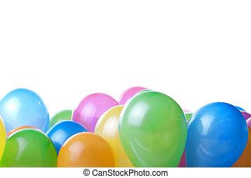 cor, balões, isolado, branco