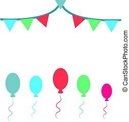 cor, balões, isolado, branco, fundo