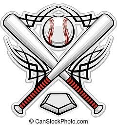 cor, basebol, emblema