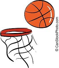 cor basquetebol, ilustração, vetorial, rede, ou