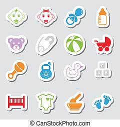cor, bebê, labes, ícones