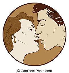 cor, beijando, par, sepia