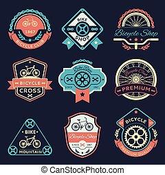 cor, bicicleta, vetorial, bicicleta, logotipo