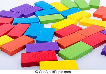 cor, blocos, domino, vário