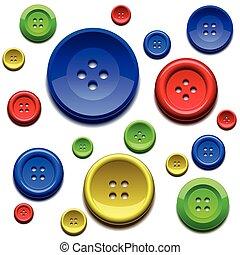cor, botões, cosendo