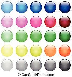 cor, botões, lustroso