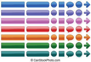 cor, botões, teia