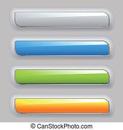 cor, botões, vetorial, jogo