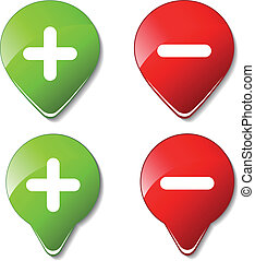 cor, -, botões, vetorial, positivo, menos