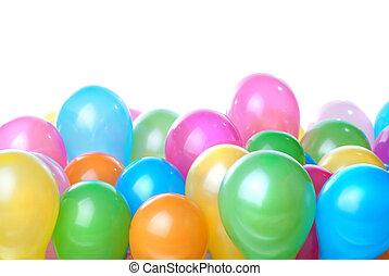 cor, branca, balões, isolado