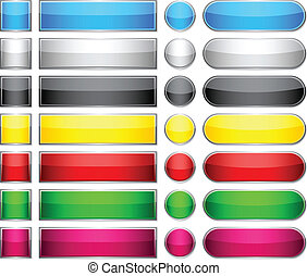 cor, buttons., em branco