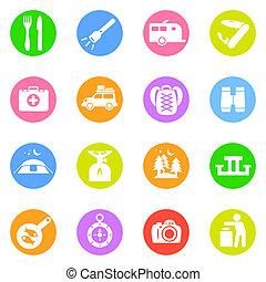 cor, círculos, acampamento, ícones