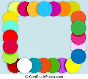 cor, círculos, quadro, feito