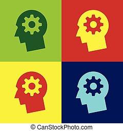 cor, cabeça humana, com, engrenagem, dentro, ícone, isolado, ligado, cor, backgrounds., artificial, intelligence., cérebro pensando, sinal., símbolo, trabalho, de, brain., apartamento, design., vetorial, ilustração
