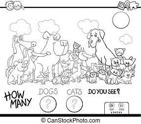cor, cachorros, jogo, gatos, contagem, livro