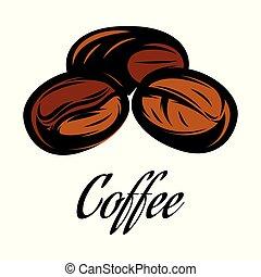 cor, café, vetorial, feijão, ilustração