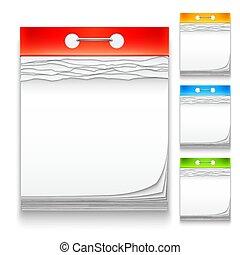 cor, calendários, ícones