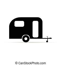 cor, campista, ilustração, pretas, reboque, ícone