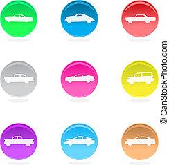 cor, car, isolado, white., ícones