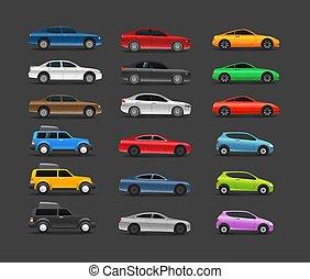 cor, carros, modernos, vetorial, cobrança