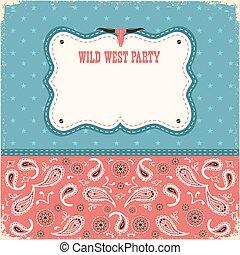 cor, cartão selvagem, partido, oeste, text., fundo, vetorial
