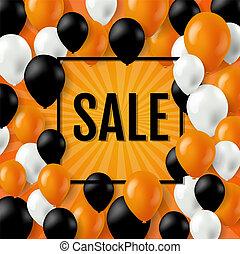 cor, cartaz, dia das bruxas, venda, balões