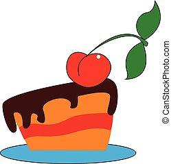 cor, cereja, ilustração, vetorial, bolo, ou